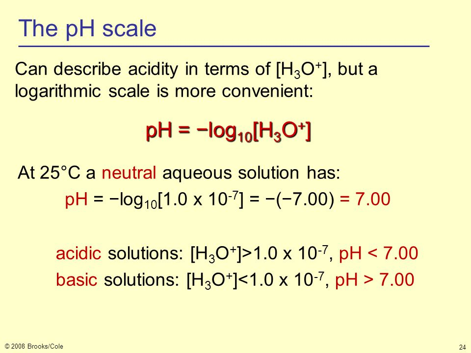 The pH scale pH = −log10[H3O+]
